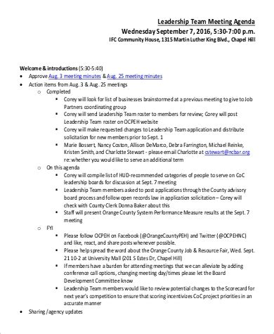 team meeting agenda samples  ms word