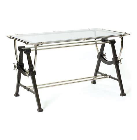 Nautical Contemporary Iron Brass and Glass Dining Table