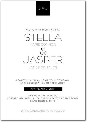 Stylish Elegance Signature White Wedding Invitations