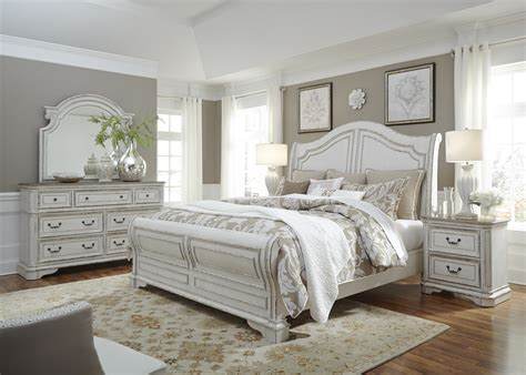 Magnolia Manor Antique White Sleigh Bedroom Set From