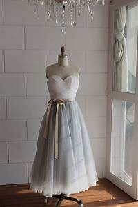 strapless ivory lace silver grey tulle tea length by With silver grey wedding dress