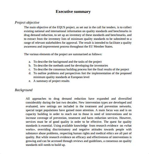 summary report template 9 executive summary templates for free sle templates
