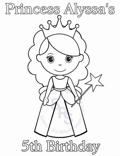 Princess Birthday Printable Easy Party Personalized Coloring