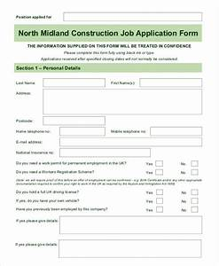 Blank job application word excel free premium templates for Construction employment application template