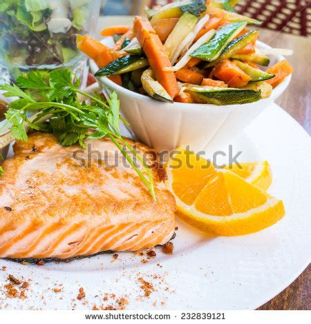limoner cuisine grilled salmon lemon cuisine dish stock photo