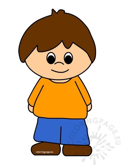 cute  boy cartoon vector coloring page
