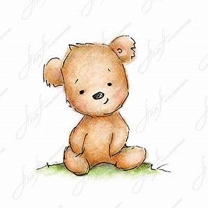 The drawing of cute teddy bear. Printable Art. Digital file.