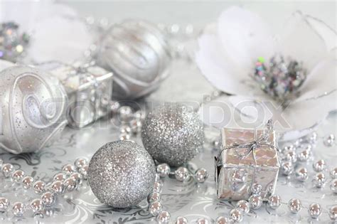 christmas ornaments  silver  white tone stock photo