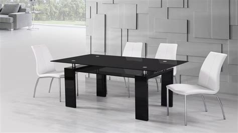 Black And White Dining Table Set by Black Glass High Gloss Dining Table And 6 White Dining Chairs