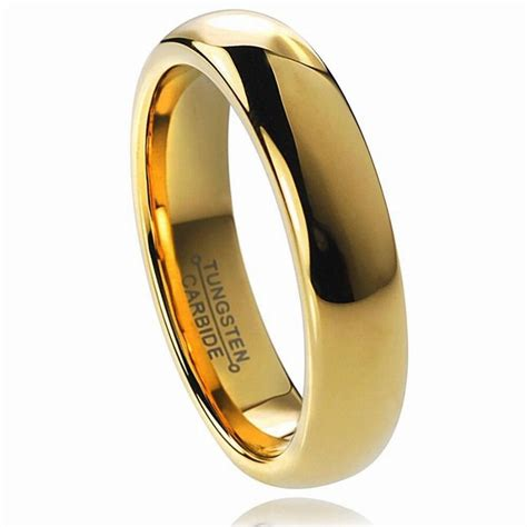 buy cheap price discount usa 6mm womens 18k golden classic dome tungsten wedding rings