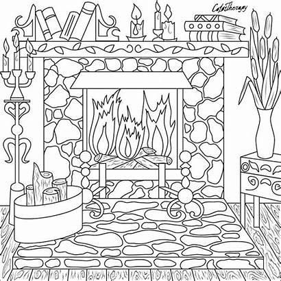 Coloring Pages Therapy Fireplace Christmas Colouring Sheets