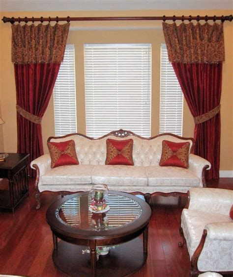 silk drapes with overlay traditional living room