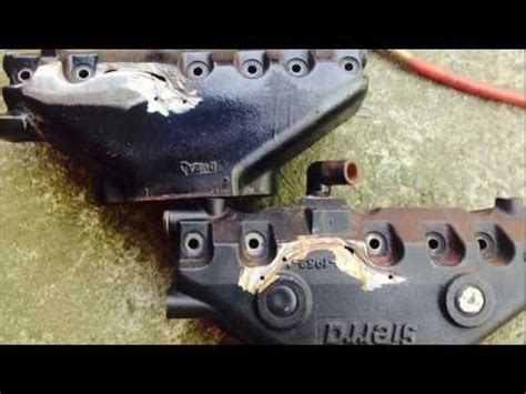 weld  boat cast iron exhaust manifold muggy weld