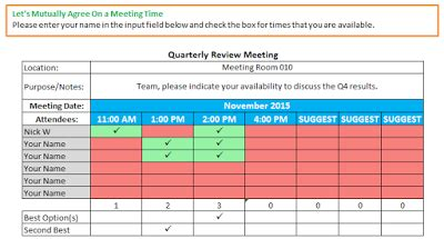 schedule meeting time template templates program