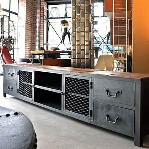 Meuble Industriel Vintage : meuble industriel meuble tv sur mesure les nouveaux brocanteurs ~ Teatrodelosmanantiales.com Idées de Décoration