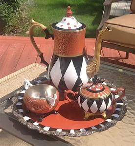 Hand Crafted Custom Hand Painted Silver Tea Set Teapot