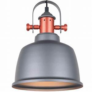 Suspension Style Industriel : suspension vintage contemporaine en cuivre avec abat jour gris dalia ~ Teatrodelosmanantiales.com Idées de Décoration