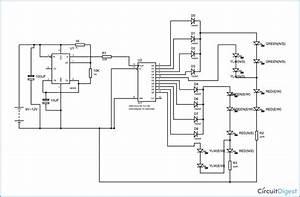 555 Timer Based Four Way Traffic Light  Circuit Diagram