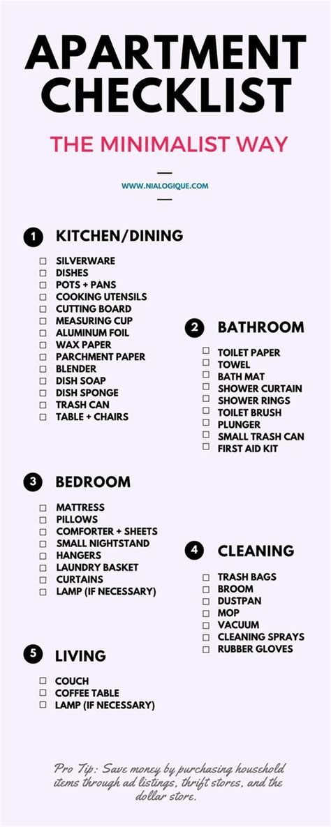 Appartment List by Apartment Checklist Minimalist Apartment And