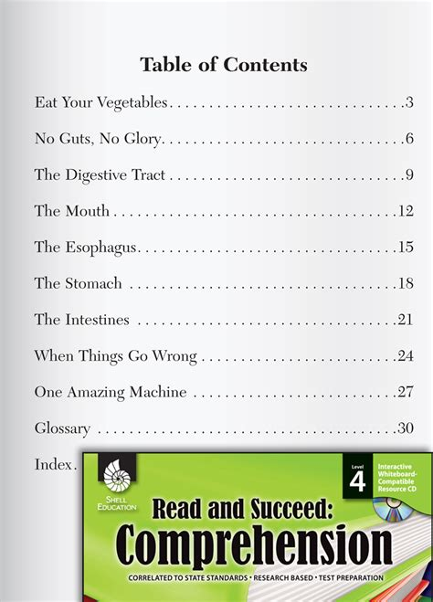 table  contents passages  questions read succeed
