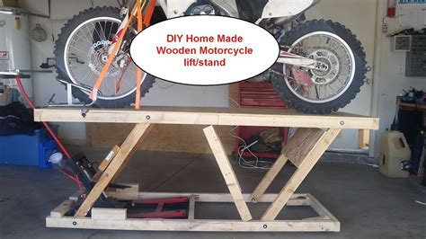 The hydraulic motorcycle lift is a manual foot pump activated stationary lift. DIY Home made Wooden Motorcycle lift stand Table under $20 ...