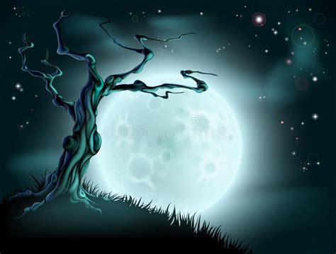 Blue Halloween Moon Tree Background Stock Vector