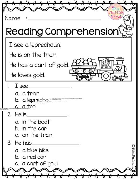 Printable Reading Comprehension Worksheets Popisgrzegorzcom