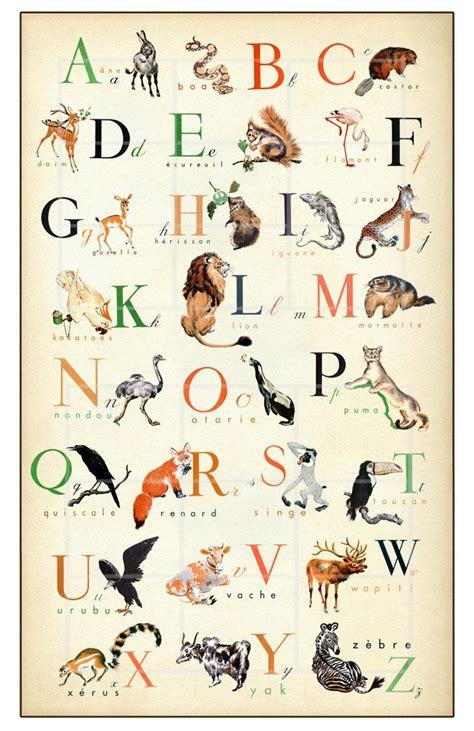 french alphabet wonderful animal alphabet print