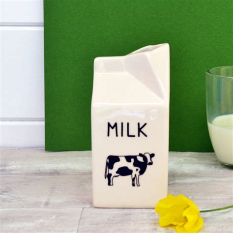 milk carton ceramic milk jug by alphs alphabet interiors notonthehighstreet