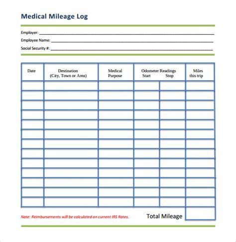 mileage template 13 sle mileage log templates to sle templates