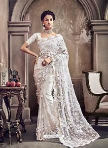 Buy White Digital Net Heavy Worked Bridal Saree | Bridal ...