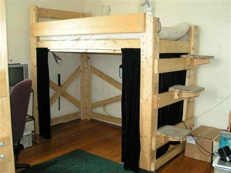 how to build a full size loft bed with desk free diy full size loft bed plans quick woodworking projects