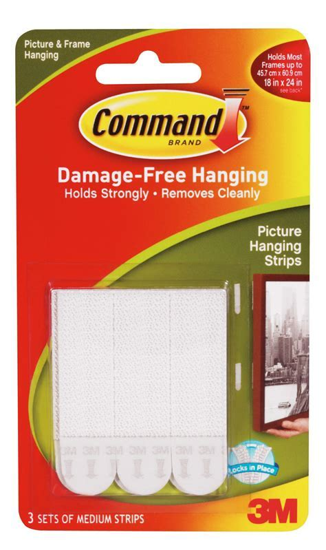 3M Command White Picture Hanging Strip Pack of 3