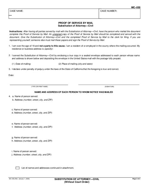 MC-050 - Substitution of Attorney Form - Civil Free Download