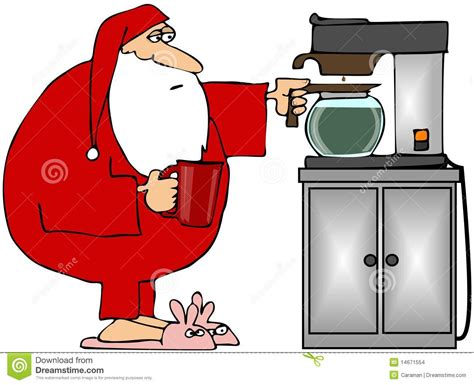 Santa Getting Coffee Stock Images   Image: 14671554