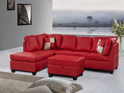 Red Sectional Leather Sofa Modern Red Leather Sectional