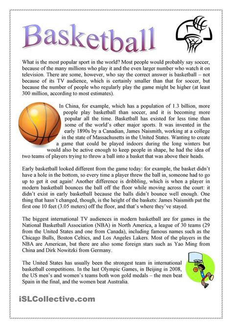 basketball  images reading comprehension teaching