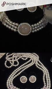 Beautiful white pearls Rose Quartz cubic zirconia   Womens ...
