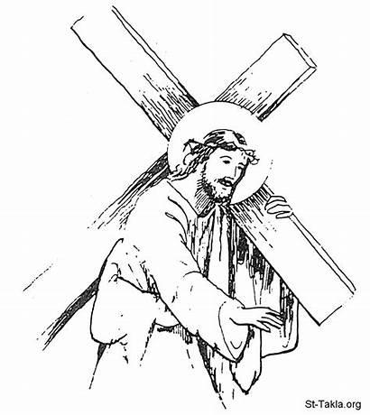 Jesus Cross Carry Pencil Christ Sketch Coloring