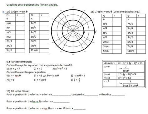 polar coordinates worksheet photos roostanama