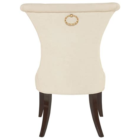 modern classic ring pull ivory side chair pair