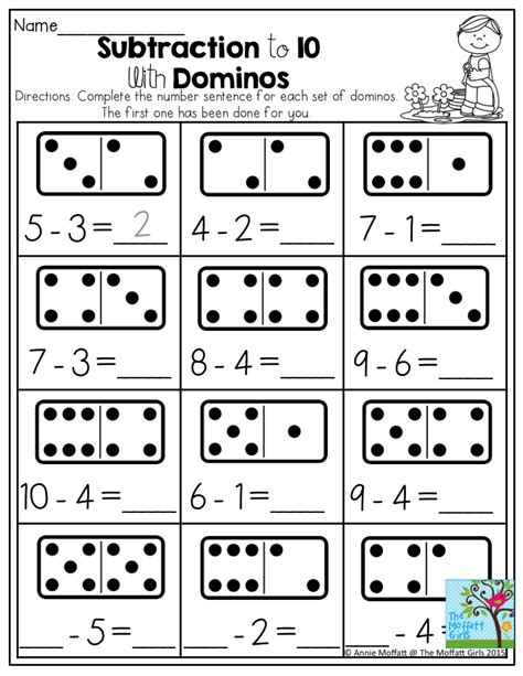 Subtraction To 10 With Dominos Dominos Provide A Tangible Way To Support Quantity Recognition
