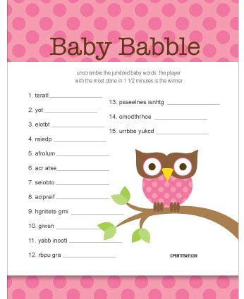 Owl Baby Shower Game Ideas