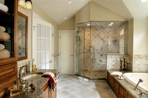 master bathroom remodel with natural stone and oversized