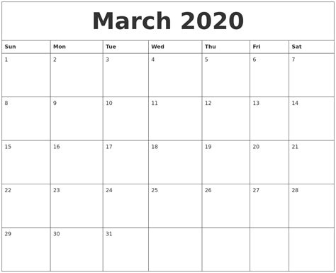 march blank printable calendars