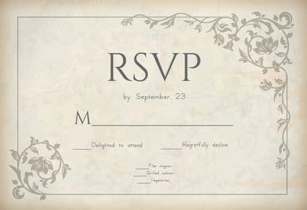 ancient decorations rsvp card template