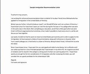 Letter Of Recommendation For Immigration For A Friend Immigration Reference Letter
