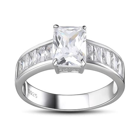 wedding rings silver emerald cut white sapphire 925 sterling silver engagement 1072