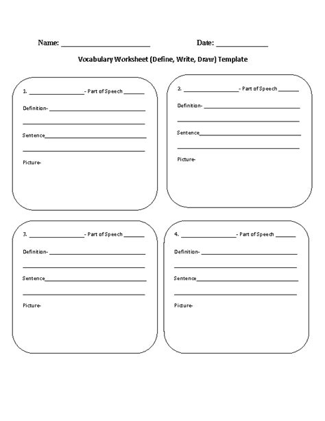 vocabulary template englishlinx vocabulary worksheets