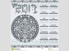 Aztec calendar 2017 stock vector Image of belize